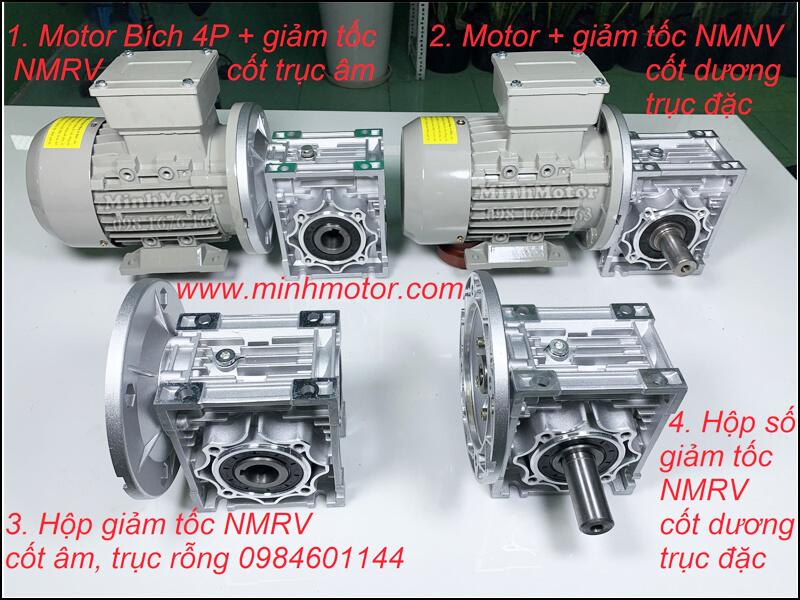 motor giảm tốc bích 4p NMRV size 63 cốt trục âm trục rỗn gắn với mô tơ mặt bích B5