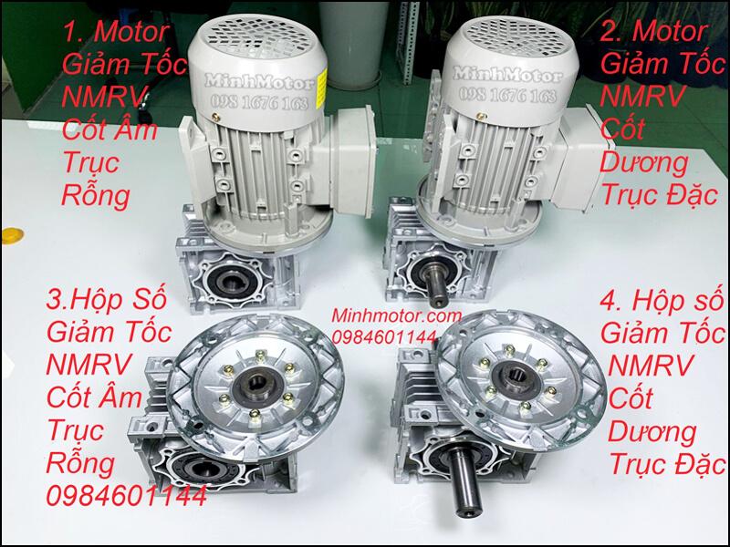motor giảm tốc MNRV size 63 cốt âm trục rỗng cốt dương trục đặc gắn động cơ 0.75kw 0.8kw 1Hp