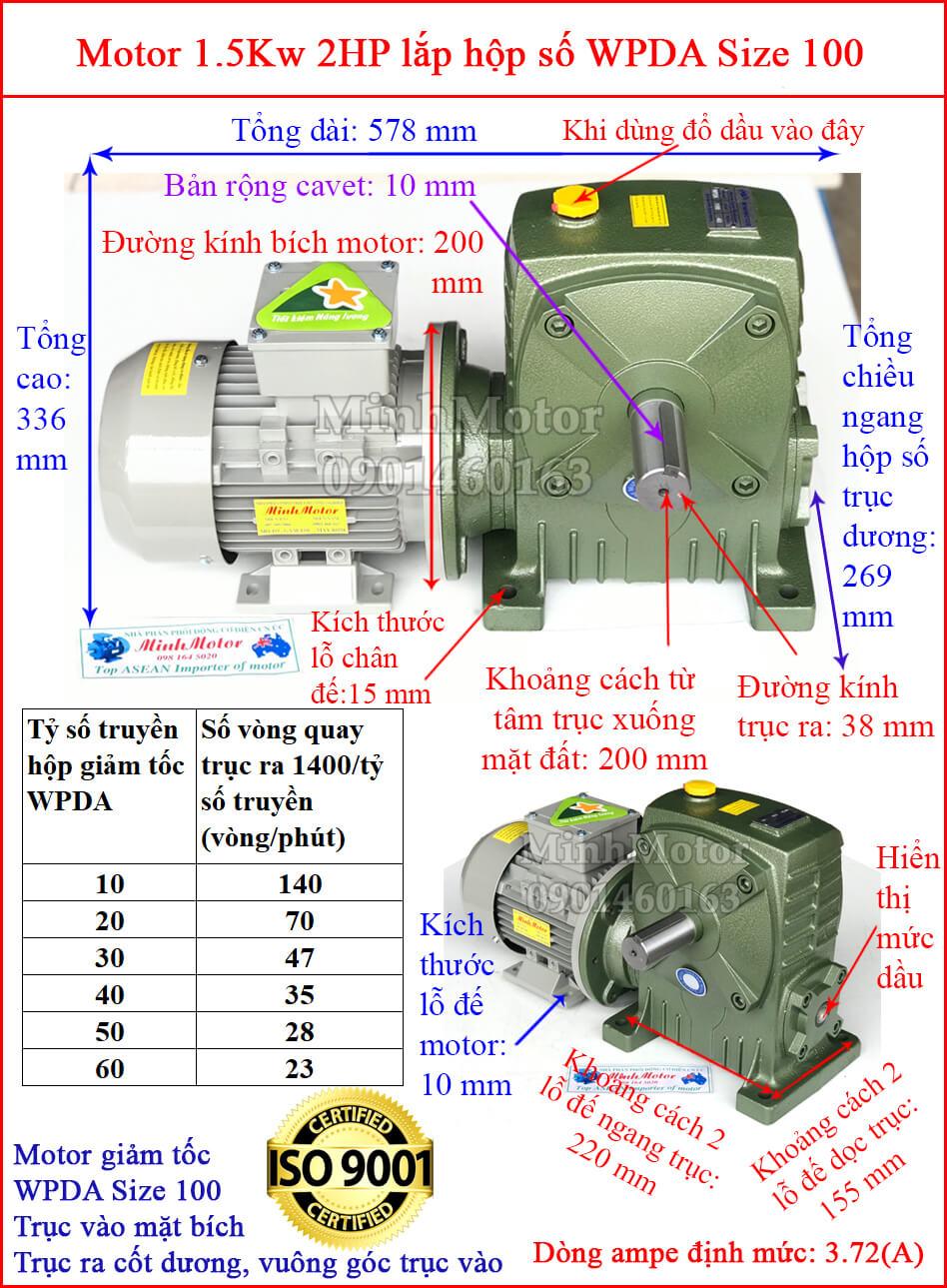 Hộp số WPDA size 100 liền motor