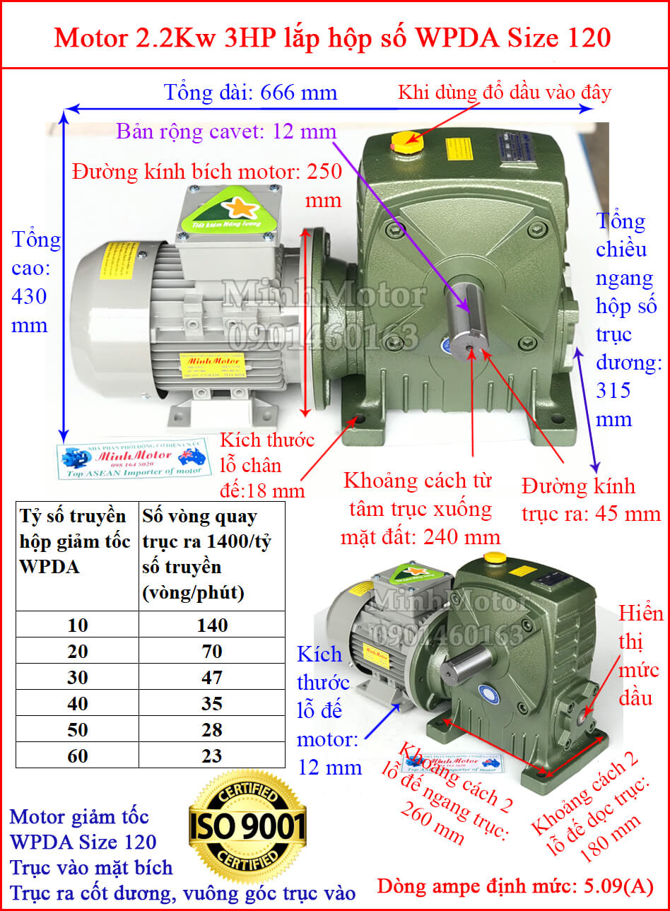 Hộp số WPDA size 120 liền motor
