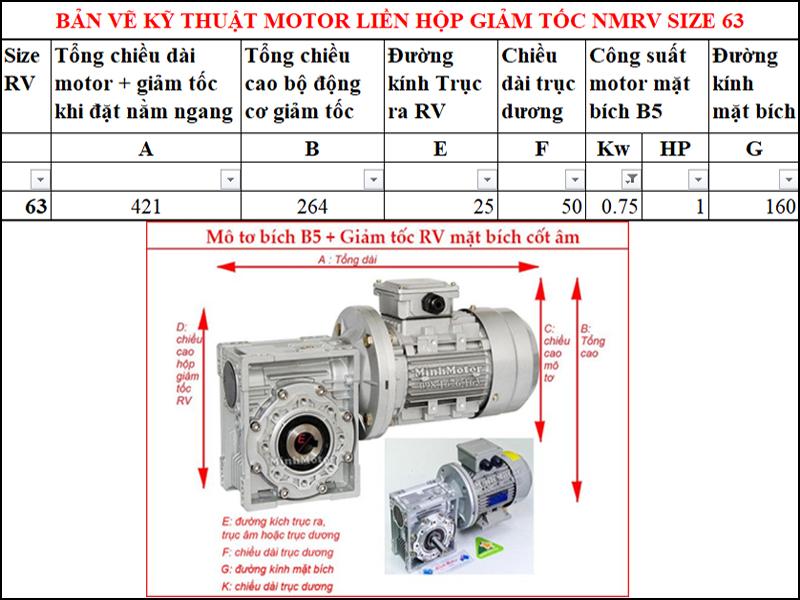 Động cơ bích B5 0.8kw 1Hp liền hộp giảm tốc NMRV mặt bích cốt âm size 63