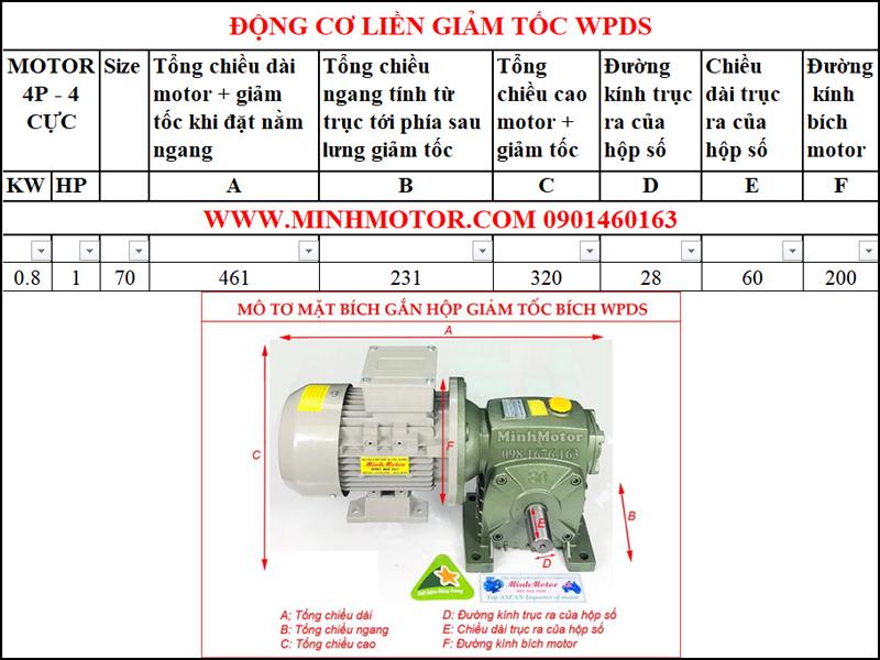 Động cơ mặt bích 380V 0.8kw 1Hp liền hộp giảm tốc WPDS size 70