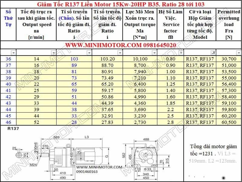 Thông số kỹ thuật Động Cơ Giảm Tốc 20HP 15KW R137