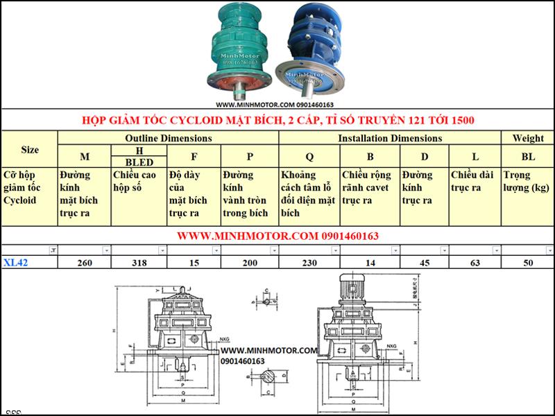 Hộp Giảm tốc Cycloid 0.75kw 1HP, X42, B20, tỉ số truyền 121