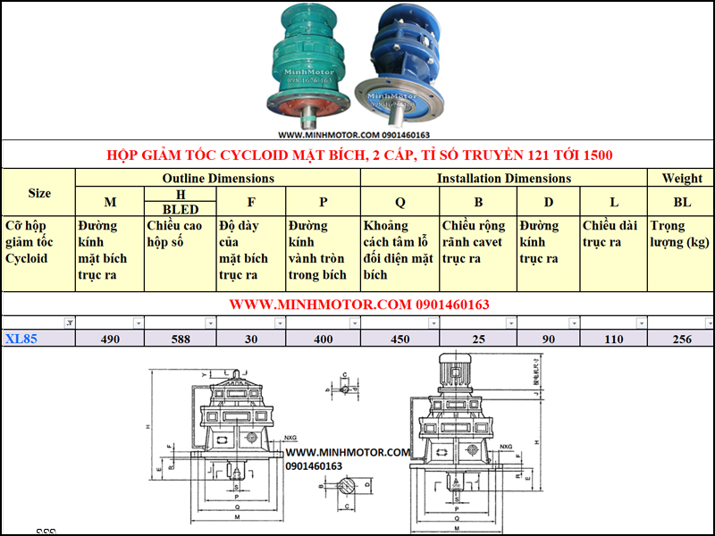 Hộp Giảm tốc Cycloid 3kw 4HP, X85, B53 tỉ số truyền 289, 391