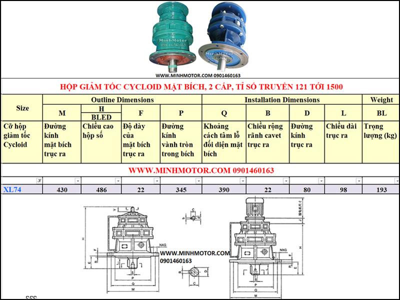 Hộp Giảm tốc Cycloid 4kw 5.5HP, X74 tỉ số truyền 121