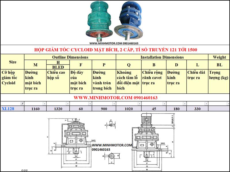 Hộp Giảm tốc Cycloid 7.5kw 10HP, X128, B95, tỉ số truyền 595, 731, 841