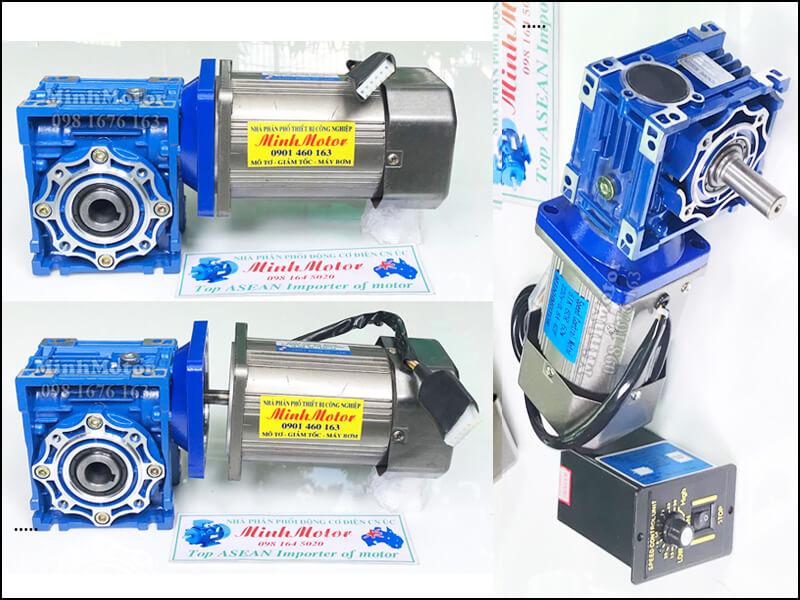 Hộp giảm tốc NMRV size 75 bích vuông ở trục vào kết nối với motor mini – mô tơ servo, mô tơ bước, step motor