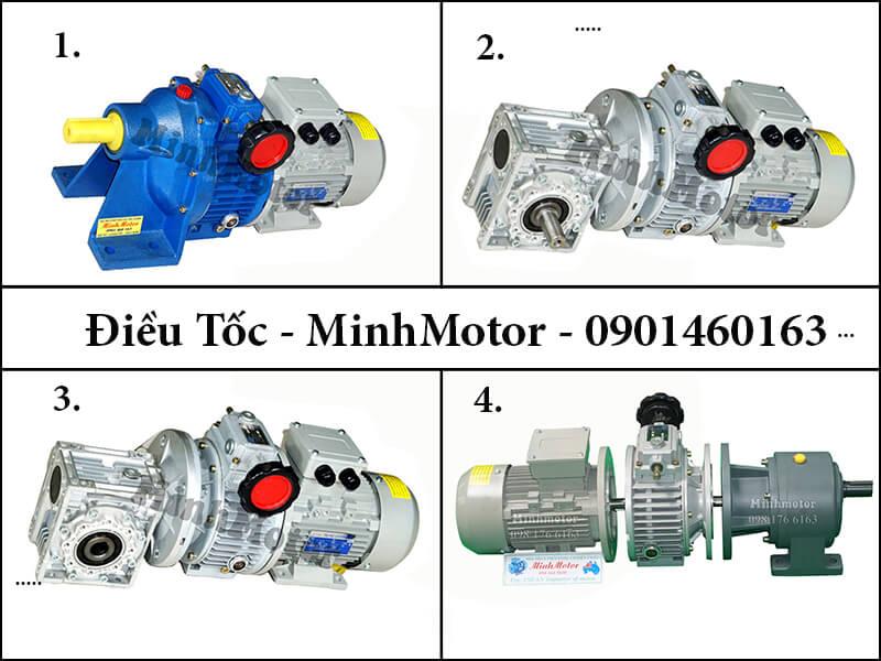 Hộp số RV size 75 + hộp điều tốc cơ ULD tạo ra motor biến đổi tốc độ, từ 10 tới 1000 vòng phút