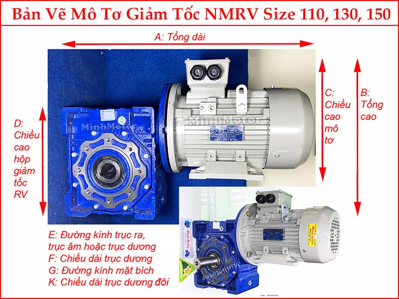 Kích thước hình học khi gắn motor 2.2kw 3HP 3 ngựa mặt bích B5 + hộp số NMRV 110