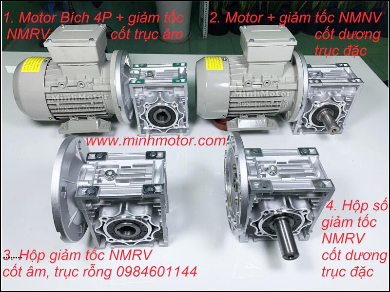 Hộp Số RV B5 mặt bích + Motor mặt bích B5 theo phương ngang