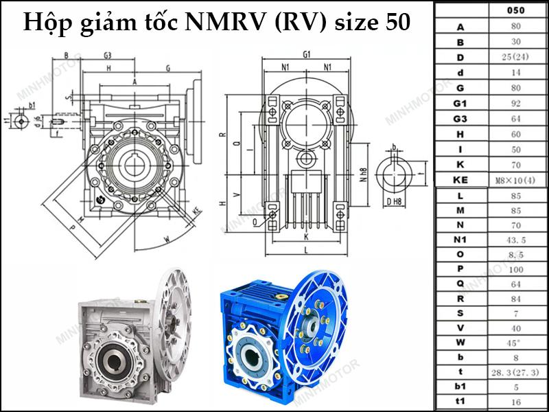 Bản vẽ kỹ thuật hộp giảm tốc NMRV 50 trục âm còn gọi là NMRV size 50 mặt bích