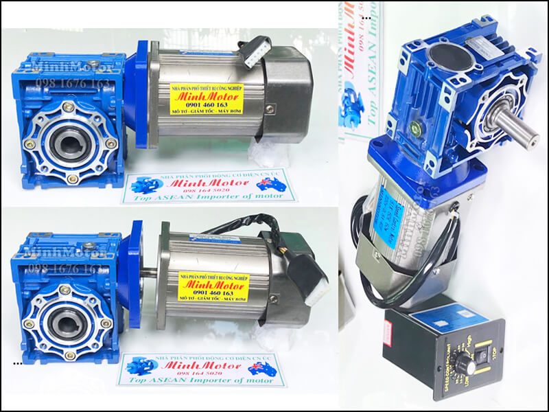 Hộp giảm tốc NMRV size 50 bích vuông ở trục vào kết nối với motor mini – mô tơ servo, mô tơ bước, step motor