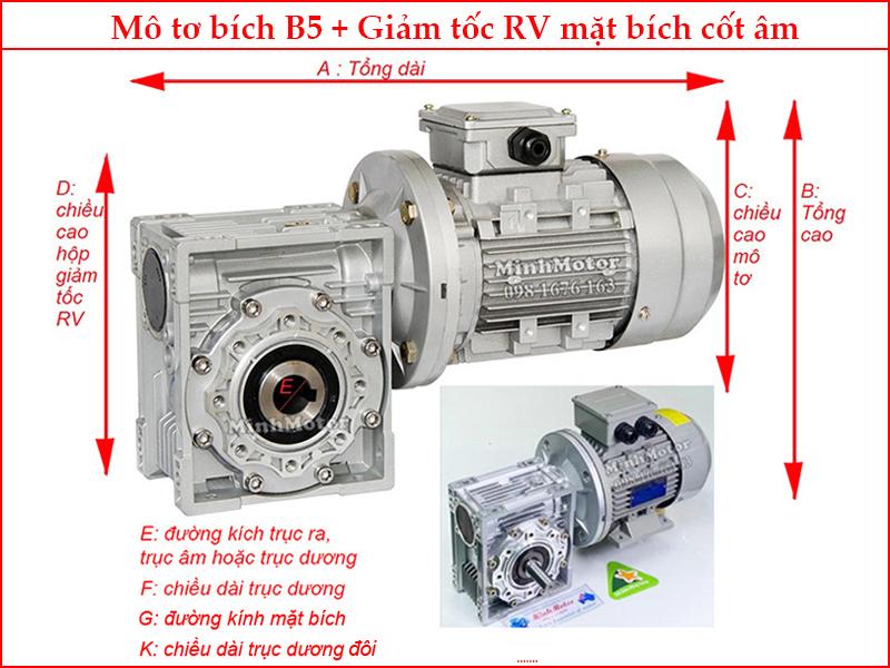 Thông số kỹ thuật khi gắn motor 0.37kw 0.5HP 0.5 ngựa mặt bích B5 + hộp số NMRV 50