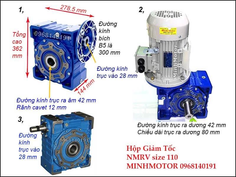 Bản vẽ kỹ thuật hộp giảm tốc NMRV 110 trục âm còn gọi là NMRV size 110 mặt bích