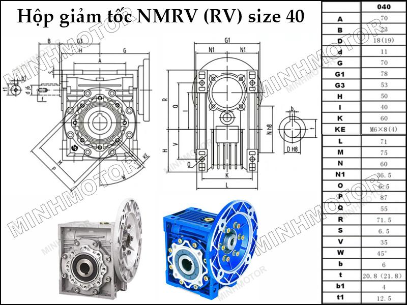 Bản vẽ kỹ thuật hộp giảm tốc NMRV 40 trục âm còn gọi là NMRV size 50 mặt bích