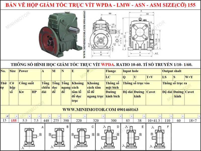 Bản vẽ kỹ thuật hộp giảm tốc trục vít WPDA-LMW-ASN-ASM size 155