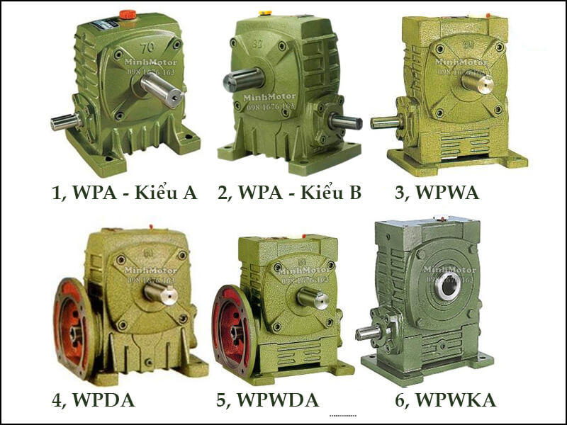 Hộp Số Giảm Tốc WPA WPDA Trục Cốt Dưới Size 155 WPA-Kiểu A, WPA- kiểu B, WPWA, WPDA, WPWKA
