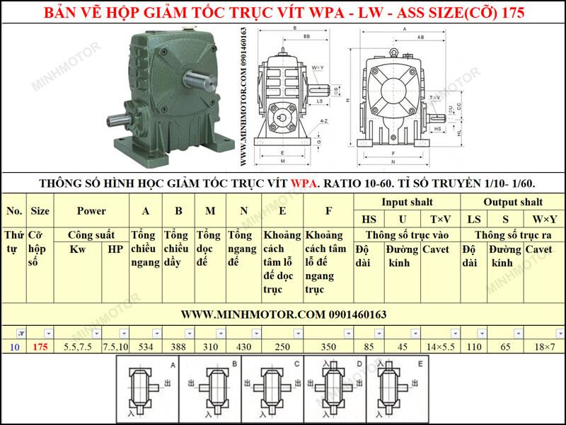 Bản vẽ kỹ thuật hộp giảm tốc trục vít WPA-LW-ASS size 175