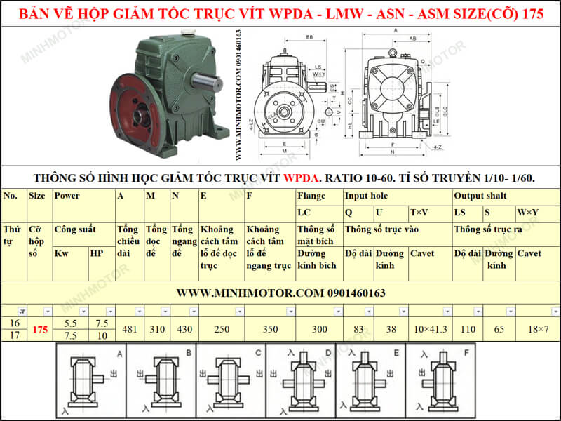 Bản vẽ kỹ thuật hộp giảm tốc trục vít WPDA-LMW-ASN-ASM size 175