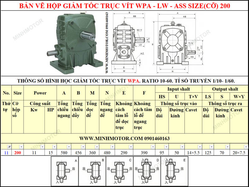 Bản vẽ kỹ thuật hộp giảm tốc trục vít WPA-LW-ASS size 200