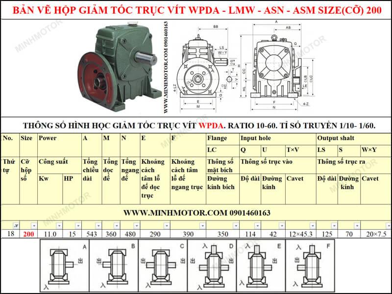 Bản vẽ kỹ thuật hộp giảm tốc trục vít WPDA-LMW-ASN-ASM size 20