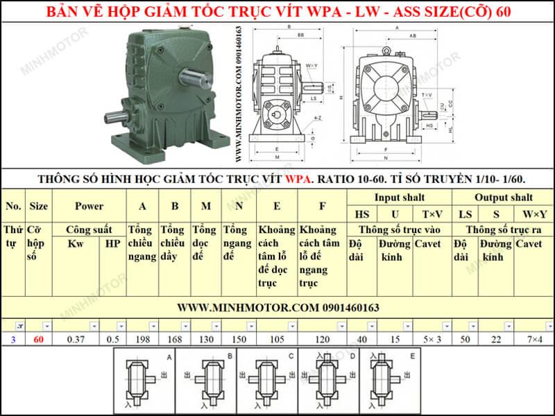 Bản vẽ kỹ thuật hộp giảm tốc trục vít WPA-LW-ASS size 60