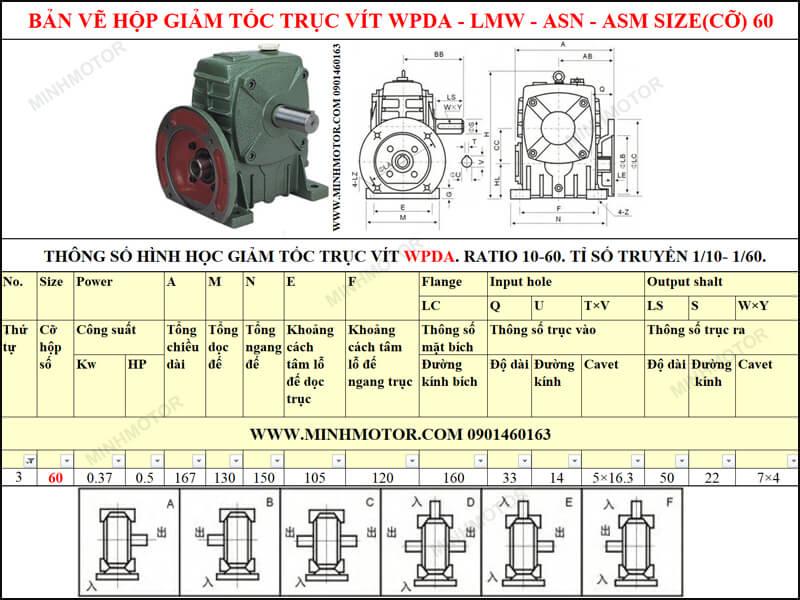 Bản vẽ kỹ thuật hộp giảm tốc trục vít WPDA-LMW-ASN-ASM size 60