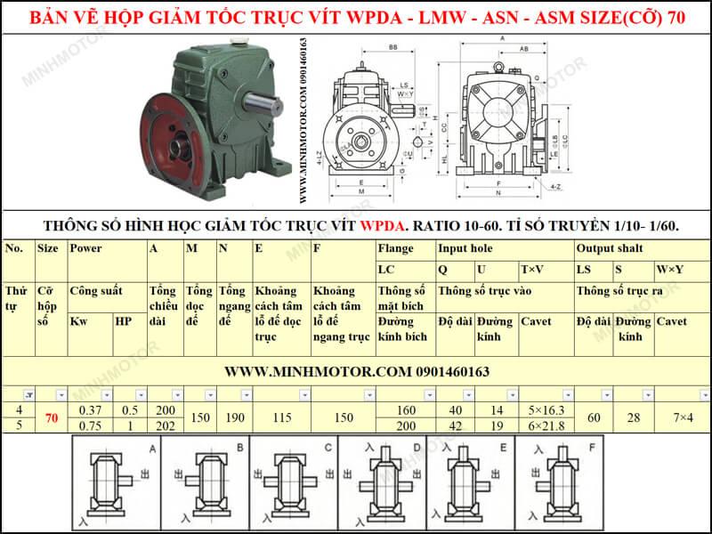 Bản vẽ kỹ thuật hộp giảm tốc trục vít WPDA-LMW-ASN-ASM size 70