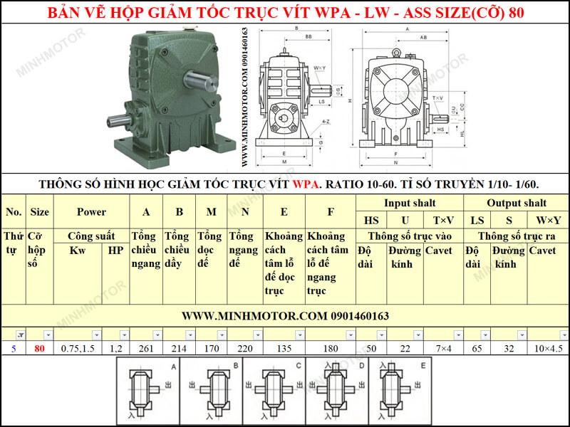 Bản vẽ kỹ thuật hộp giảm tốc trục vít WPA-LW-ASS size 80