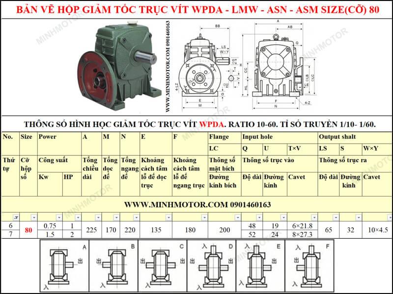 Bản vẽ kỹ thuật hộp giảm tốc trục vít WPDA-LMW-ASN-ASM size 80
