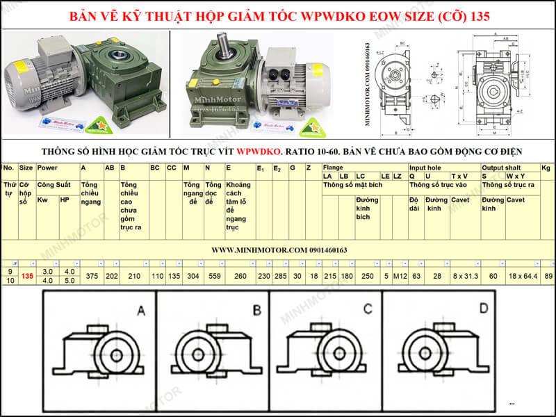 Bản vẽ kỹ thuật hộp giảm tốc WPWDKO EOW size 135