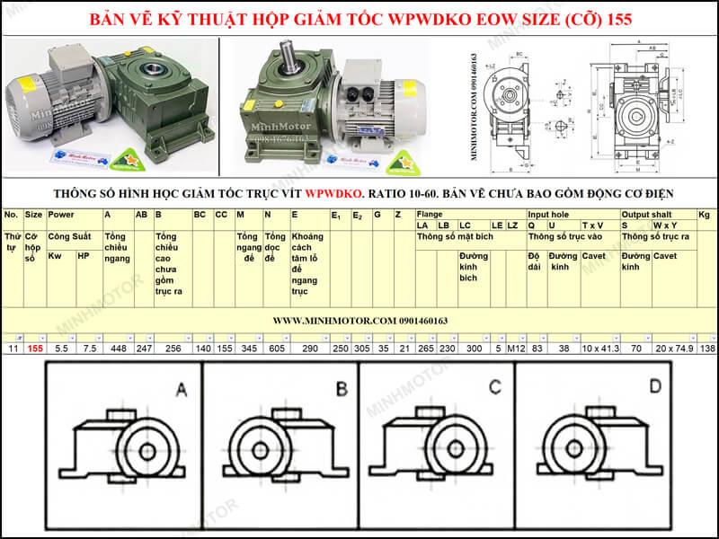 Bản vẽ kỹ thuật hộp giảm tốc WPWDKO EOW size 155