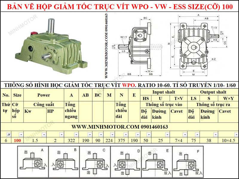 Bản vẽ hộp giảm tốc trục vít WPO-VW-ESS size 100