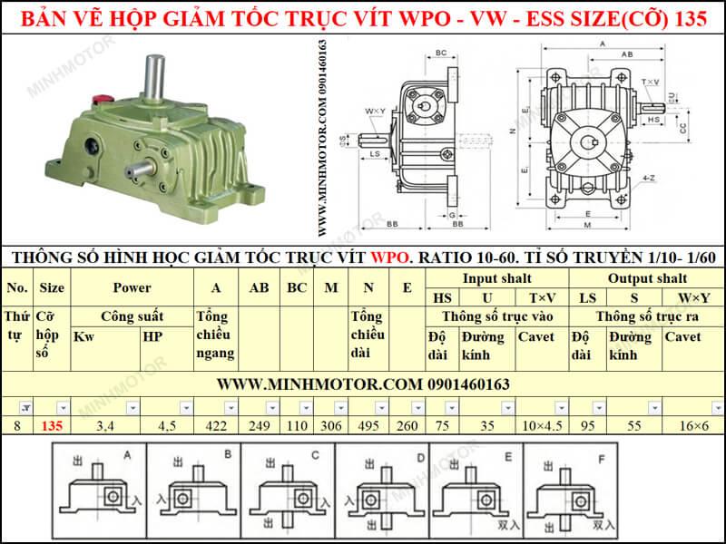 Bản vẽ hộp giảm tốc trục vít WPO-VW-ESS size 135