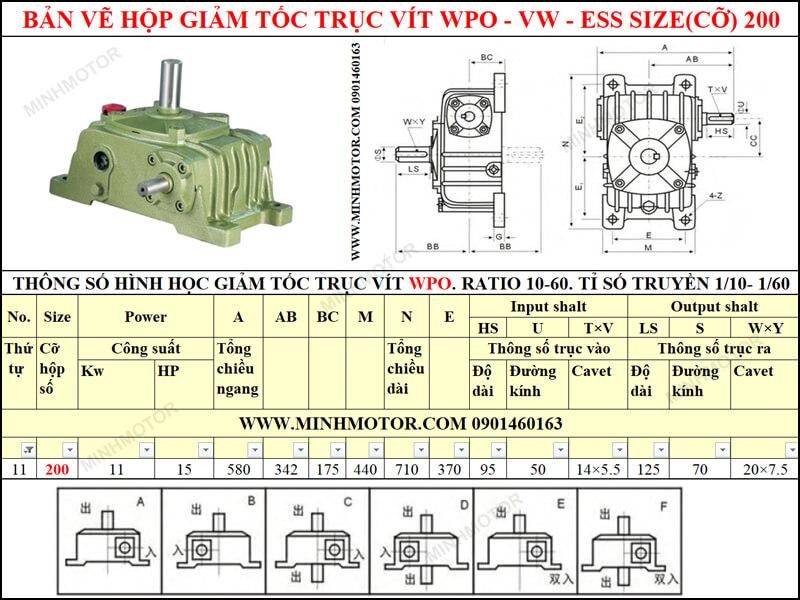Bản vẽ hộp giảm tốc trục vít WPO-VW-ESS size 200