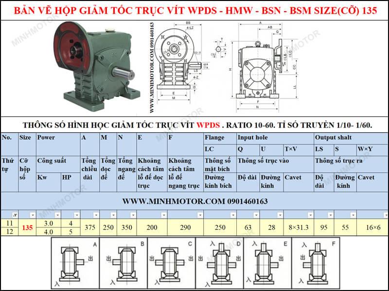 Bản vẽ kỹ thuật hộp số trục vít WPS-HMW-BSN-BSM size 135