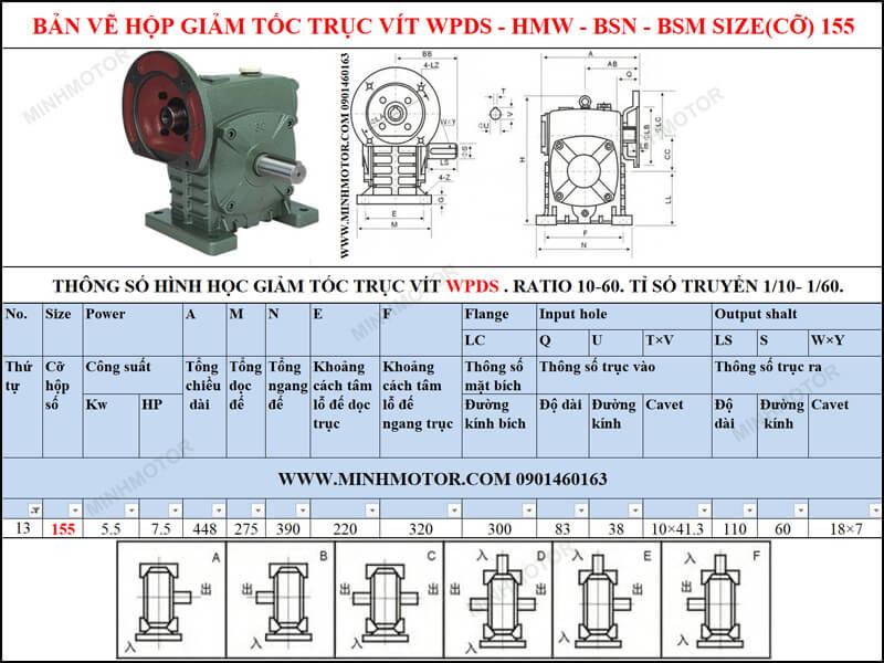 Bản vẽ kỹ thuật hộp số trục vít WPS-HMW-BSN-BSM size 155