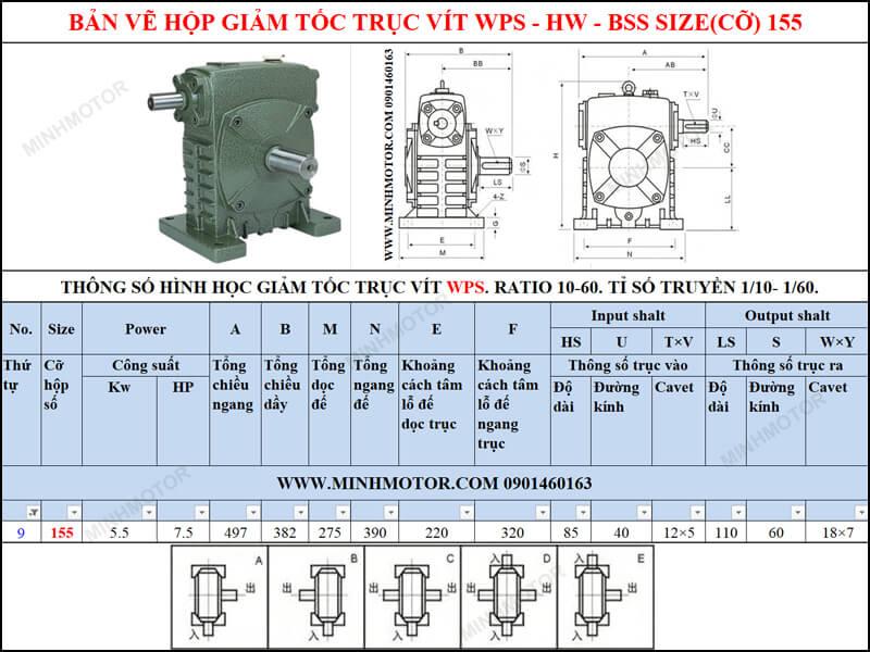 Thông số kỹ thuật hộp số trục vít WPS-HW-BSS size 155