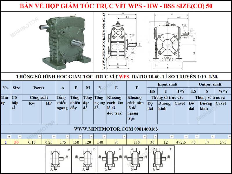 Thông số kỹ thuật hộp số trục vít WPS-HW-BSS size 50