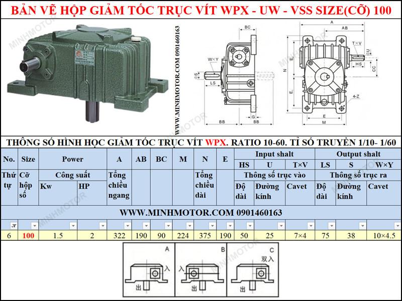 Bản vẽ Hộp giảm tốc trục vít WPX-UW-VSS size 100