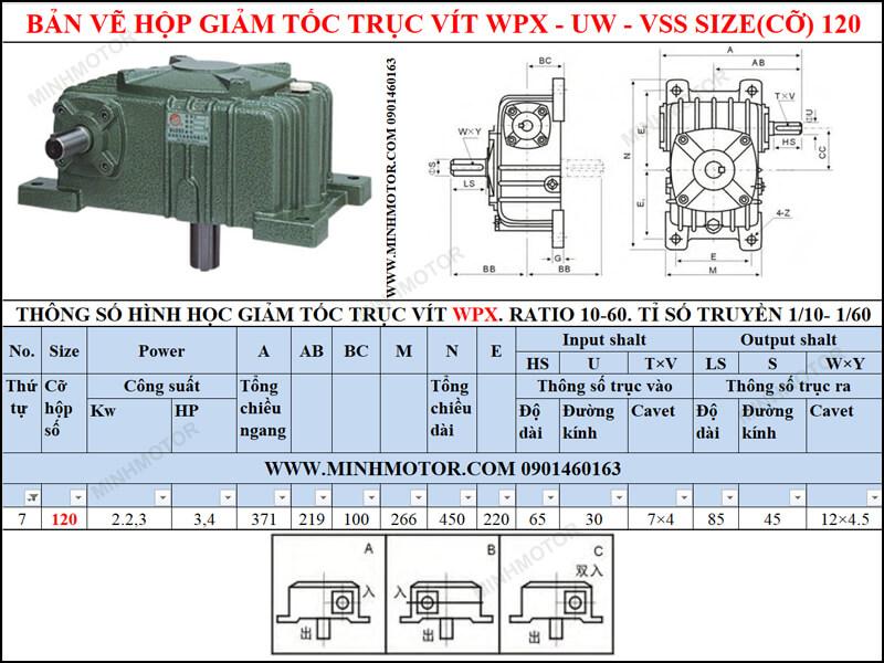 Bản vẽ Hộp giảm tốc trục vít WPX-UW-VSS size 120