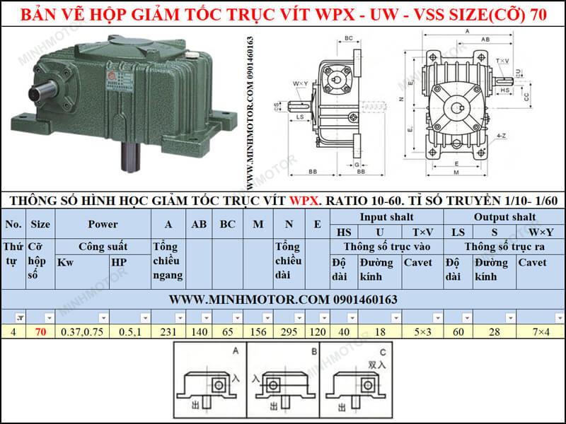 Bản vẽ Hộp giảm tốc trục vít WPX-UW-VSS size 70