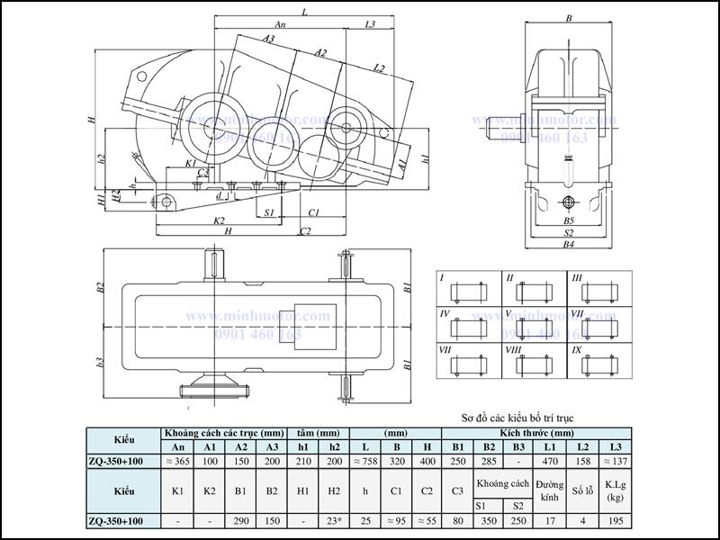 Bản vẽ kỹ thuật hộp giảm tốc ZQ 350 + 100, ratio 65 tới 317