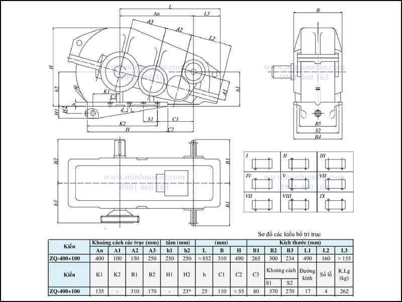 Bản vẽ kỹ thuật hộp giảm tốc ZQ 400 + 100, ratio 65 tới 317