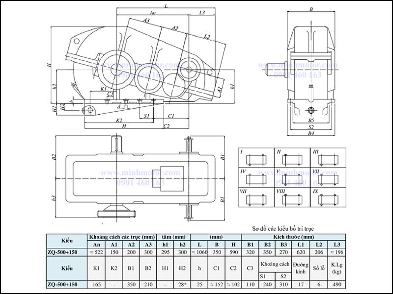Bản vẽ kỹ thuật hộp giảm tốc ZQ 500 + 150, ratio 65 tới 317