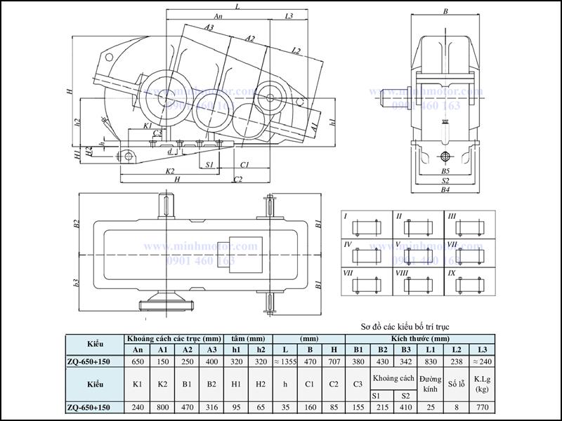 Bản vẽ kỹ thuật hộp giảm tốc ZQ 650 + 150, ratio 65 tới 317