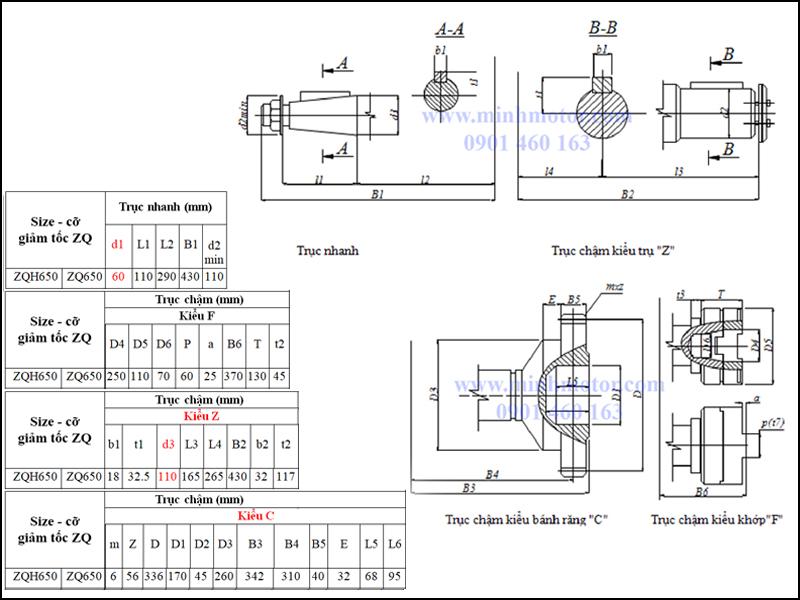 Kích thước trục vào và ra hộp số ZQ 650