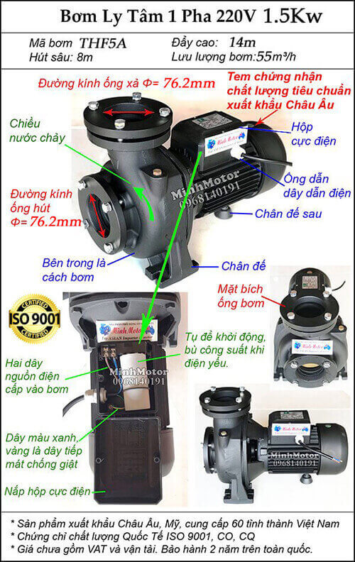 Máy bơm nước 2 Hp điện 1 pha 220v mã THF5A