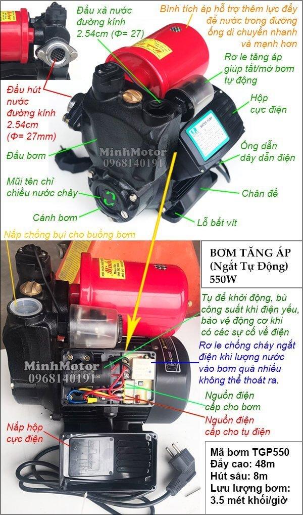 Máy bơm nước tăng áp tự động 0.55kw 0.75 pha 0.75 ngựa 220v